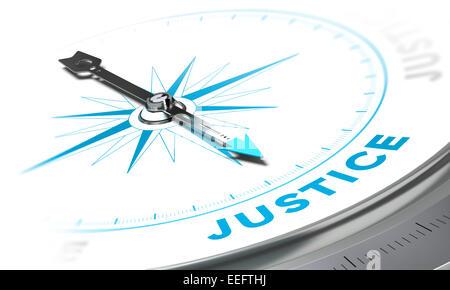 Kompass mit Nadel zeigt das Wort Gerechtigkeit, weißen und blauen Tönen. Hintergrundbild zur Veranschaulichung des - Stockfoto