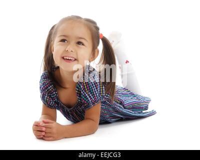 Isoleted portrait kleines Mädchen - Stockfoto