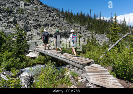 Kanada, British Columbia, Joffre Lakes Provincial Park, Wanderer, die Fußgängerbrücke überqueren - Stockfoto