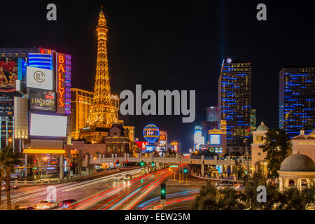 Las Vegas Strip bei Nacht, Las Vegas, Nevada, USA - Stockfoto
