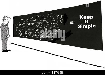 Karikatur von Geschäftsmann Blick auf eine weiße Tafel von komplexen Gleichungen und die Summierung, keep it simple. - Stockfoto