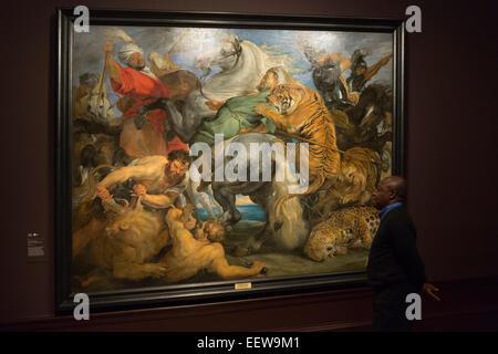"""London, UK. 20. Januar 2015. Ein Besucher der Ausstellung befasst sich mit der Malerei """"Tiger, Löwe und Leopard - Stockfoto"""