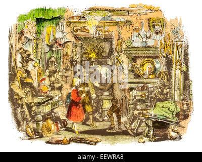 Im Inneren der alten Neugier Shop Nell Trent Großvater Barnaby Rudge Charles John Huffam Dickens englische Schriftsteller - Stockfoto