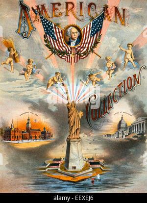 """Amerikanische Sammlung - Noten zu decken, für die """"American Collection"""" zeigt die Statue of Liberty, Unabhängigkeit - Stockfoto"""