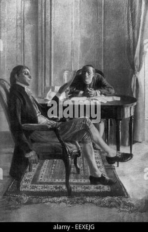 Benjamin Franklin und Richard Oswald Diskussion über den Vertrag des Friedens Paris nach dem amerikanischen Unabhängigkeitskrieg - Stockfoto