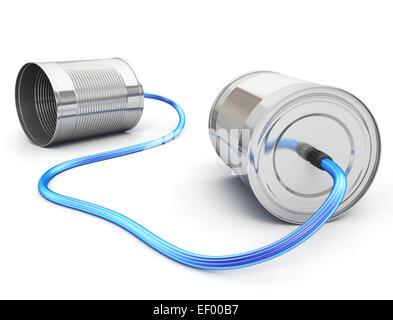 Blechdose Telefon mit Lichtwellenleiter Stockfoto