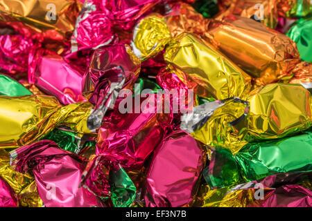 Verpackte Weihnachtsbaum Bonbons hautnah - Stockfoto