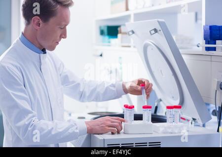 Fokussierte Chemiker machen ein Experiment - Stockfoto