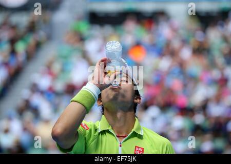 Melbourne, Australien. 28. Januar 2015. Kei Nishikori (JPN) Tennis: 2015 Australian Open Tennis Turnier Herren Viertelfinale - Stockfoto