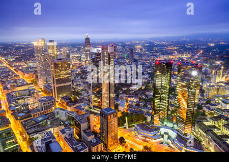 Skyline von Frankfurt am Main Innenstadt Bankenviertel. - Stockfoto