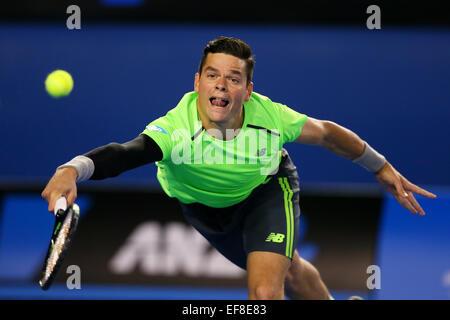 Melbourne, Australien. 28. Januar 2015. Milos Raonic (CAN) Tennis: 2015 Australian Open Tennis Turnier Herren Viertelfinale - Stockfoto