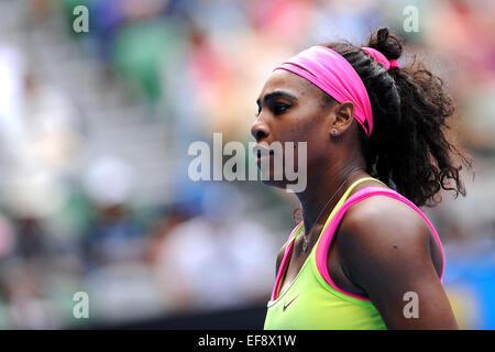 Melbourne, Australien. 29. Januar 2015. Australian Open Damen Halbfinale. Serena Williams (USA) während Ihres Studiums - Stockfoto
