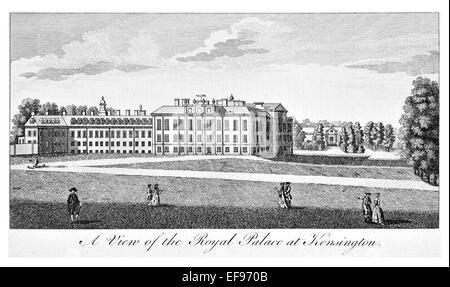Kupfer-Gravur 1776 Landschaft Schönheiten England elegantesten prächtige öffentlichen Bauten. Royal Palace Kensington. - Stockfoto