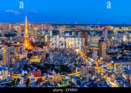 Blick auf Skyline von Tokyo, Tokio. - Stockfoto