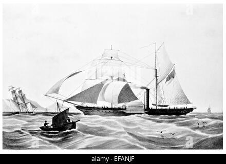 Dampf-Fregatte Memnon. Hon East India Company Marine 1841 ruiniert Kap Guardafui 1843 - Stockfoto
