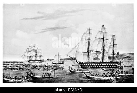 US-SS Columbus Line Of Battle ship 80 Pistole 1819 und Vincennes 20 Gewehr Sloop [1826 Bürgerkrieg blockierten Mississippi - Stockfoto