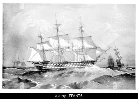 HMS Marlborough 131 Kanonen 1855-Dampf-Schiff. Flaggschiff im Mittelmeer 1858 bis 64. Als Ausbildungsstätte genutzt. - Stockfoto