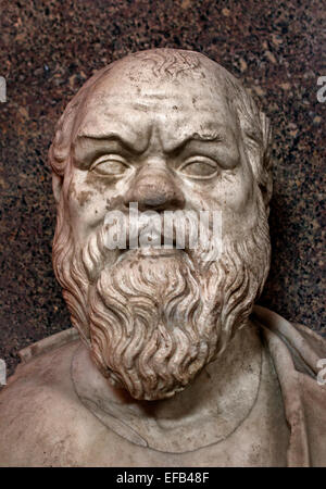 Büste des Sokrates, Marmor, Römische Kopie nach einem griechischen Original aus dem 4. Jahrhundert v. Chr. (Vatican - Stockfoto