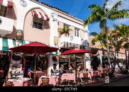Miami Beach Florida Espanola Way spanischen Stil Architektur Gebäude Hosteria Romana Ristorante Pizzeria Restaurant - Stockfoto