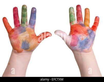 Kind hält sich gemalte Kunst Hände auf einem weißen Hintergrund isoliert. - Stockfoto