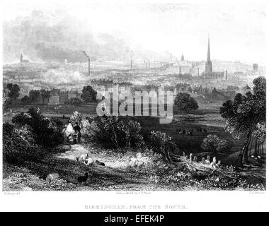 Eine Gravur von Birmingham aus dem Süden mit hoher Auflösung aus einem Buch gescannt gedruckt im Jahre 1850. - Stockfoto