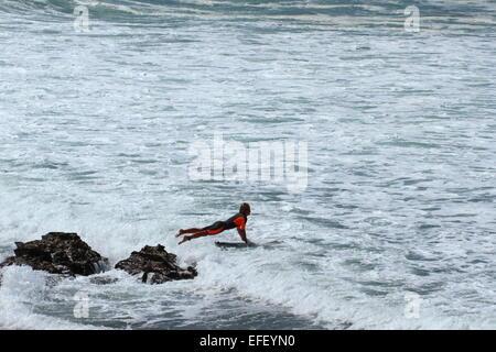 Ein junger Surfer springt von Felsen in der Brandung in Sandon Punkt, Bulli, New-South.Wales, Australien. - Stockfoto