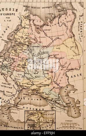 Antike französische Karte von Nordeuropa von Nouvel Atlas Classique c: 1869. - Stockfoto