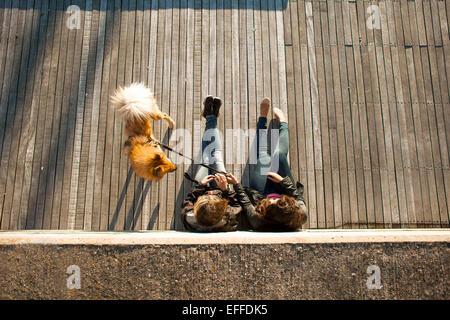 Erhöhte Ansicht des Paares mit Hund entspannt auf Promenade im freien - Stockfoto