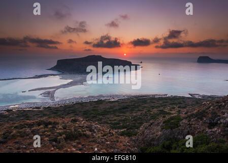 Balos Lagune bei Sonnenuntergang Kreta Griechenland