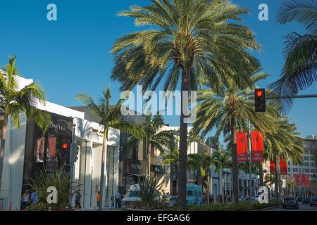 NORTH RODEO DRIVE BEVERLY HILLS-LOS ANGELES-KALIFORNIEN-USA - Stockfoto
