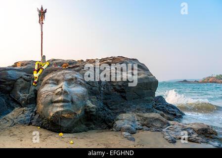 Attraktionen Vagator Beach in North Goa Gesicht Shivas - Stockfoto