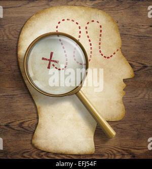 Gehirn, innere Welt, Psychologie, Talent Erforschung und Entdeckung Konzept. - Stockfoto