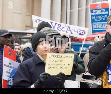 London, UK. 5. Februar 2015. Personal an der Nationalgalerie halten eine Kundgebung und März an die Abteilung für - Stockfoto