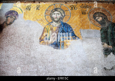 Mosaik im Inneren der Hagia Sophia, Istanbul, Türkei - Stockfoto