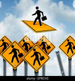 Gewinner-Konzept und Leiter der Business-Wettbewerb als eine Gruppe von Verkehrszeichen mit Arbeitern und ein ehrgeiziges - Stockfoto