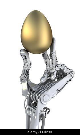 Roboterhand hält einen goldenen Osterei. Konzeptionelle 3d Darstellung - Stockfoto