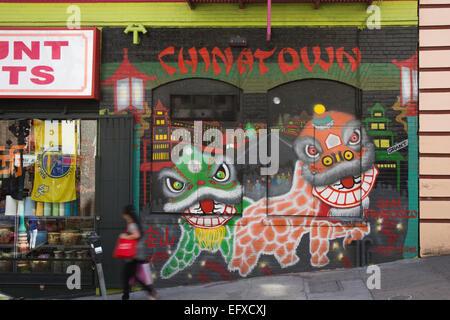 WANDBILD SACRAMENTO STREET CHINATOWN SAN FRANCISCO KALIFORNIEN, USA - Stockfoto