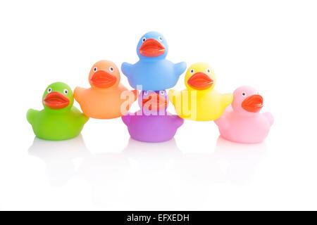 Haufen mit bunten Enten isoliert auf weiss - Stockfoto