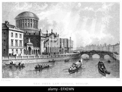 Eine Gravur der vier Gerichte, Dublin mit hoher Auflösung aus einem Buch gescannt, gedruckt im Jahre 1845. - Stockfoto