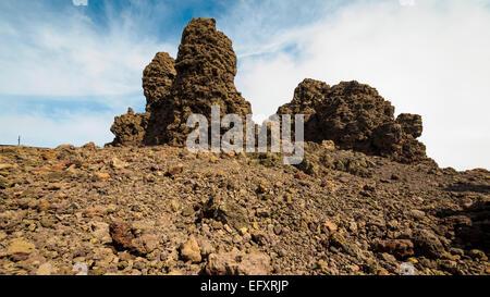 Der Gipfel des Roque de Los Muchachos, dem höchsten Berg auf der Kanareninsel La Palma. - Stockfoto