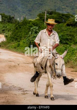 Älterer kubanischer Bauer auf Tals, Valle de Los Ingenios, Trinidad, Provinz Sancti Spiritus, Kuba - Stockfoto