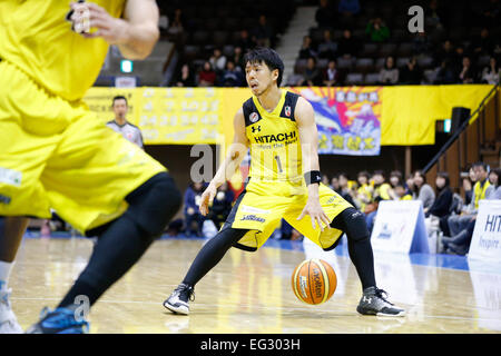 Nd Yoyogi Gymnasium, Tokio, Japan. 14. Februar 2015. Hiroyuki Kinoshita (Sunrockers), 14. Februar 2015 - Basketball: - Stockfoto