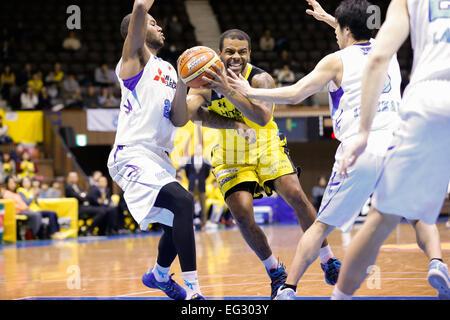 Nd Yoyogi Gymnasium, Tokio, Japan. 14. Februar 2015. Trey Johnson (Sunrockers), 14. Februar 2015 - Basketball: Nationale - Stockfoto