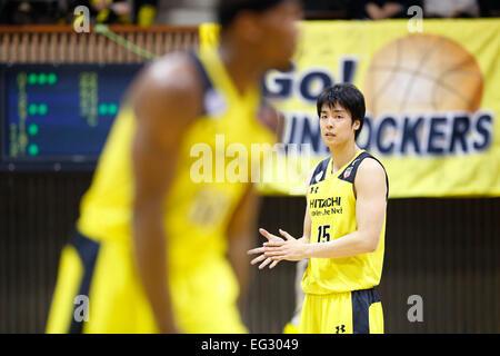 Nd Yoyogi Gymnasium, Tokio, Japan. 14. Februar 2015. Joji Takeuchi (Sunrockers), 14. Februar 2015 - Basketball: - Stockfoto