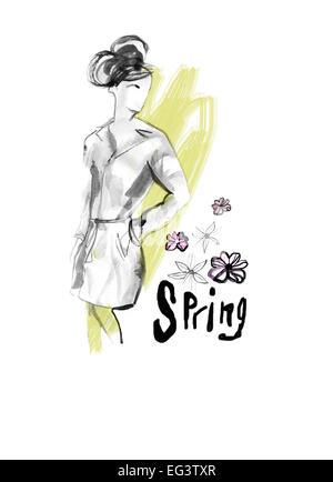 Frau im Trenchcoat stehen mit der einen Hand in die Tasche mit Blumen in der Luft und eine Feder unter geschrieben.