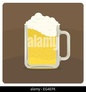 Vektor-Illustration von Bierkrug mit schaumigen Schaum - Stockfoto