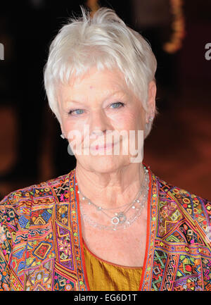 "London, UK. 17. Februar 2015. Dame Judi Dench besucht The Royal Film Performance und Welt-Premiere von ""The Second - Stockfoto"