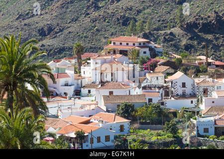 Fataga Dorf in den Bergen auf Gran Canaria, Kanarische Inseln, Spanien - Stockfoto