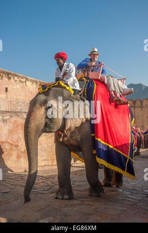JAIPUR, Rajasthan, Indien - 27 Januar: Elefanten im Amber Fort auf Dezember, 27. Januar 2013 in Jaipur, Rajasthan, - Stockfoto