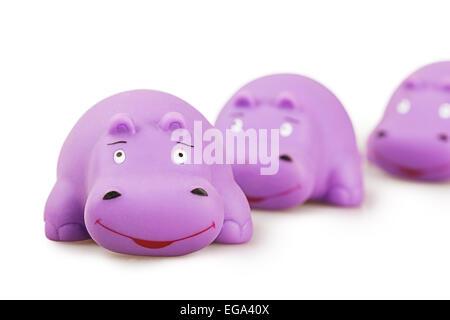 Spielzeug Nilpferd isoliert Kautschuk Nilpferd Tier - Stockfoto